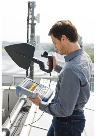 Rohde and Schwarz FSH series hand-held spectrum analyzer in the field
