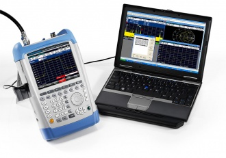 Rohde and Schwarz FSH series hand-held spectrum analyzer with laptop