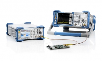Rohde and Schwarz SMC100A signal generator (left) with FSL spectrum analyzer (right)